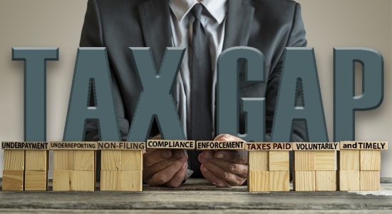 Tax Gap over blocks with words to close the gap