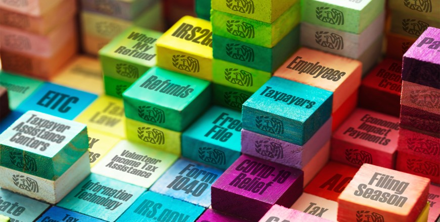Stacks of multicolor block with various IRS topics written on them