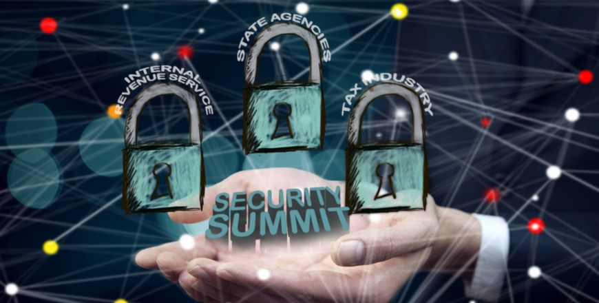 Two hands cupped under three locks with Security Summit under them