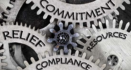 cogs with words written on them - committment, compliance, relief, resounces
