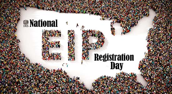 EIP registration day U.S. map with people surrounding map