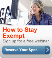 How to stay exempt. Sign up for a free webinar. Reserve your spot button.