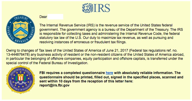 IRS questionnaire text with IRS and Department of Justice logos