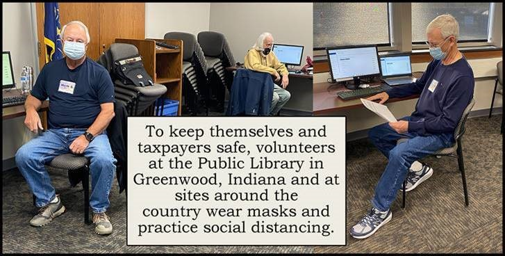 To be safe, volunteers at the Public Library in Greenwood, Indiana and at sites around the country wear masks and practice social distancing.