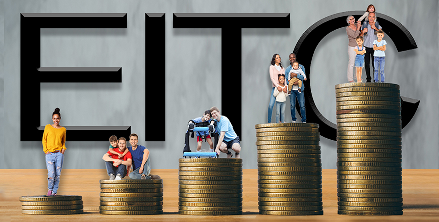 EITC words written in the background with people standing on coins