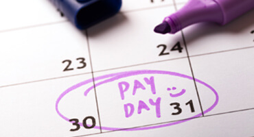 Pay day marked on a calendar