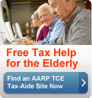 Free Help for the Elderly. Find an AARP TCE Tax-Aide site near you.(button)