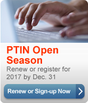 Preparer tax identification number (PTIN) applications and renewals for 2016 are still being processed. You can still signup.
