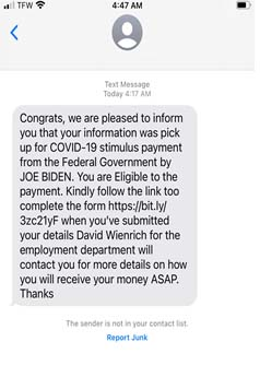 Mobile screen text image of message about Economic Impact Payment