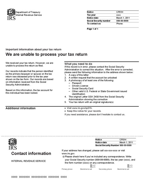 Image of page 1 of a printed IRS CP01H Notice