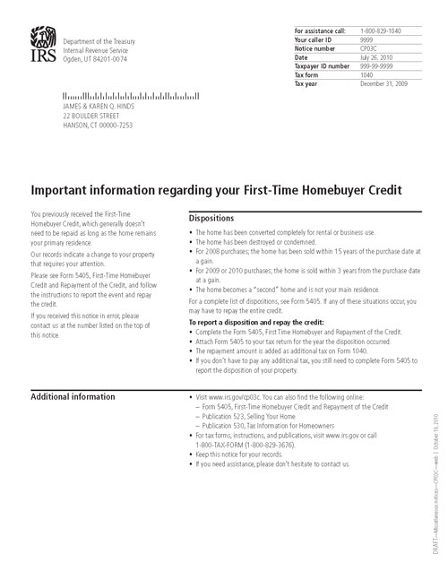 Image of a printed IRS CP03C Notice