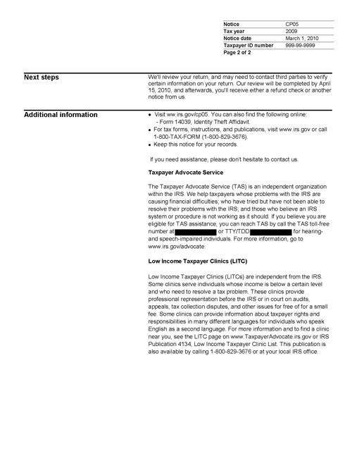 Image of page 2 of a printed IRS CP05 Notice