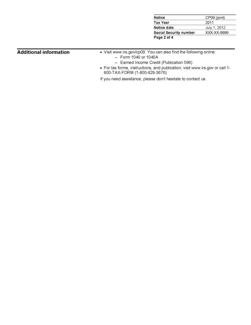 Image of page 2 of a printed IRS CP09 Notice