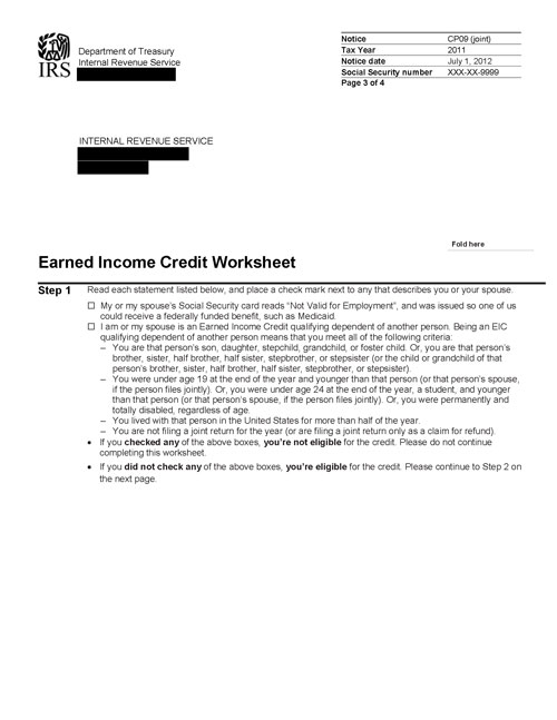 Image of page 3 of a printed IRS CP09 Notice