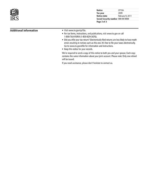 Image of page 3 of a printed IRS CP10A Notice
