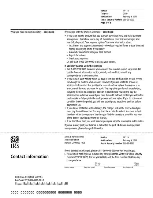 Image of page 2 of a printed IRS CP11M Notice