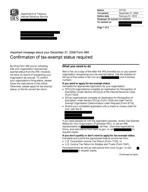Image of page 1 of a printed IRS CP120 Notice