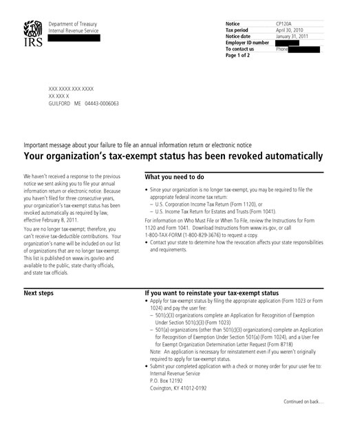 Image of page 1 of a printed IRS CP120A Notice