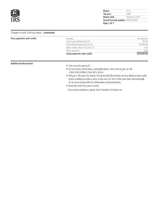 Image of page 3 of a printed IRS CP12 Notice