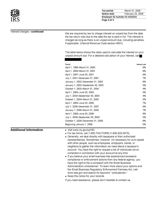Image of page 3 of a printed IRS CP160 Notice
