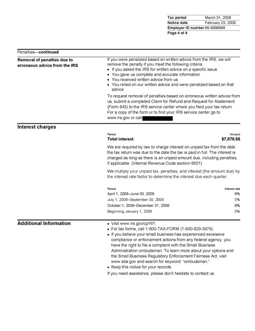 Image of page 4 of a printed IRS CP161 Notice