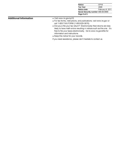 Image of page 3 of a printed IRS CP16 Notice