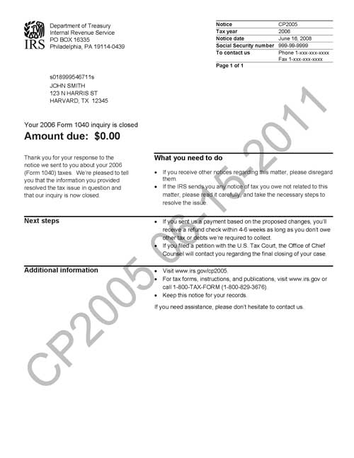 Image of page 1 of a printed IRS CP2005 Notice