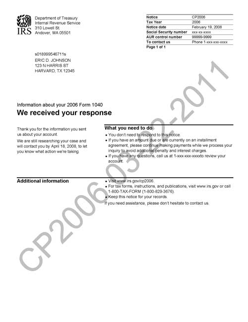 Image of page 1 of a printed IRS CP2006 Notice