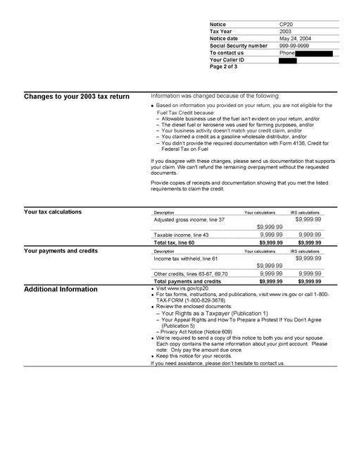Image of page 2 of a printed IRS CP20 Notice