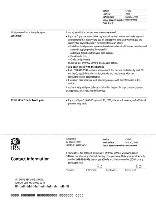 Image of page 2 of a printed IRS CP21E Notice