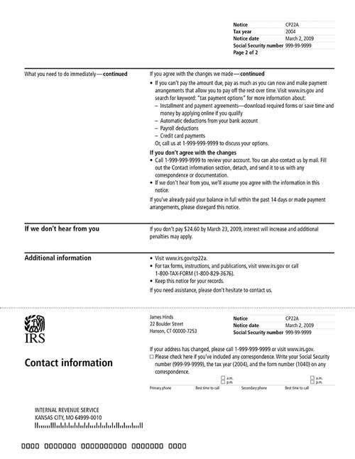Image of page 2 of a printed IRS CP22A Notice