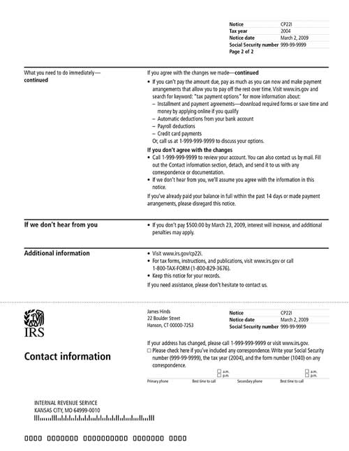 Image of page 2 of a printed IRS CP22I Notice