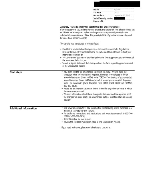 Image of page 4 of a printed IRS CP2057 Notice