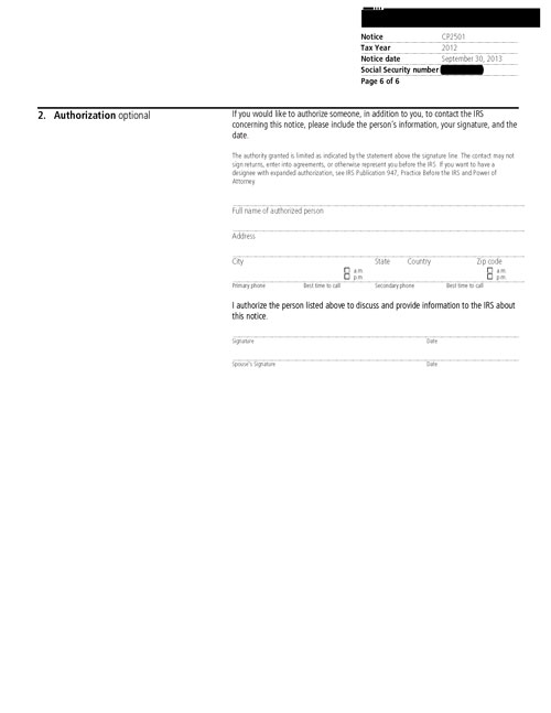 Image of page 6 of a printed IRS CP2057 Notice