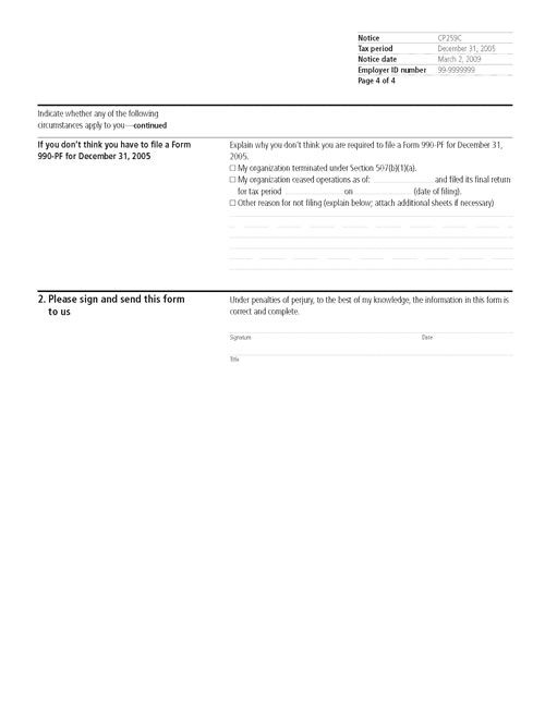 Image of page 4 of a printed IRS CP259C Notice
