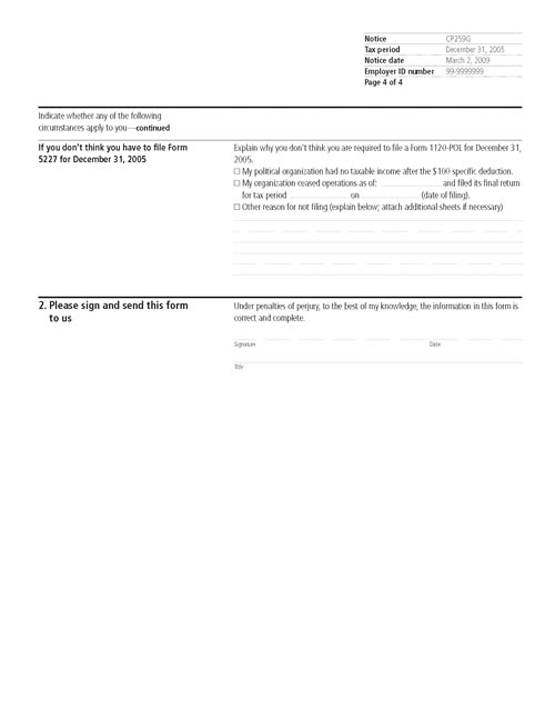 Image of page 4 of a printed IRS CP259G Notice