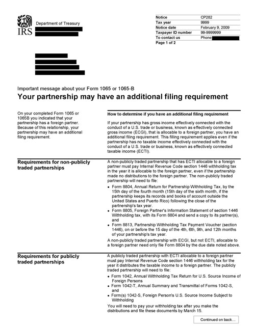 Image of page 1 of a printed IRS CP282 Notice