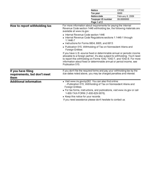 Image of page 2 of a printed IRS CP282 Notice