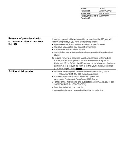 Image of page 4 of a printed IRS CP295A Notice