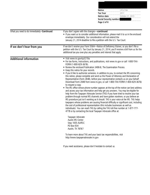Image of page 2 of a printed IRS CP3219A Notice