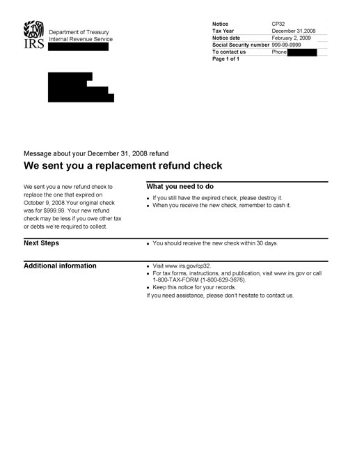 Image of page 1 of a printed IRS CP32 Notice