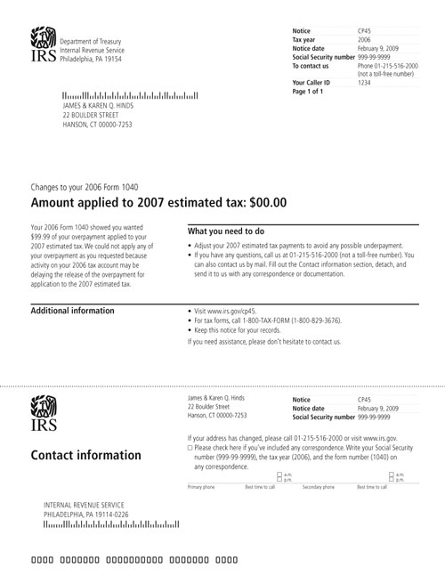 Image of a printed IRS CP45 Notice