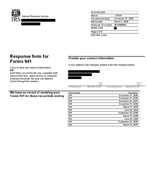 Image of page 3 of a printed IRS CP515B Notice