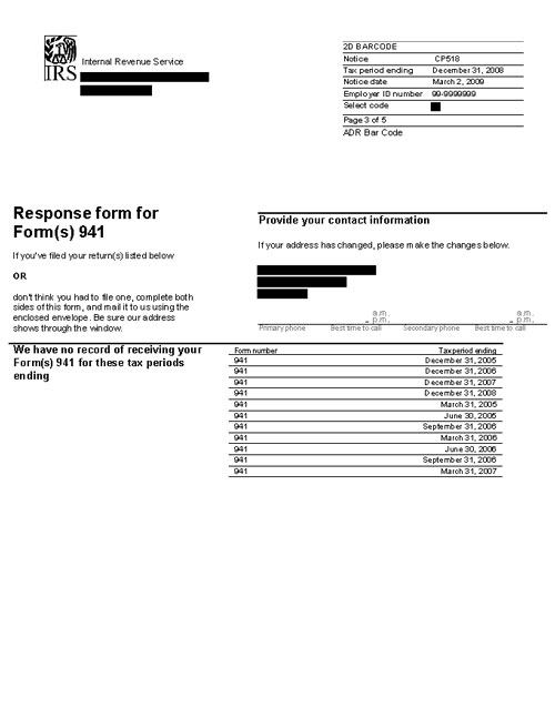Image of page 3 of a printed IRS CP518B Notice