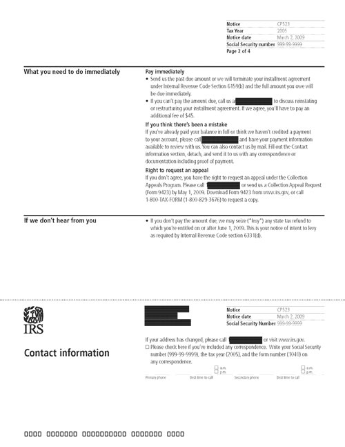 Image of page 2 of a printed IRS CP523 Notice