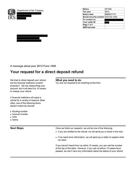 Image of page 1 of a printed IRS CP53A Notice