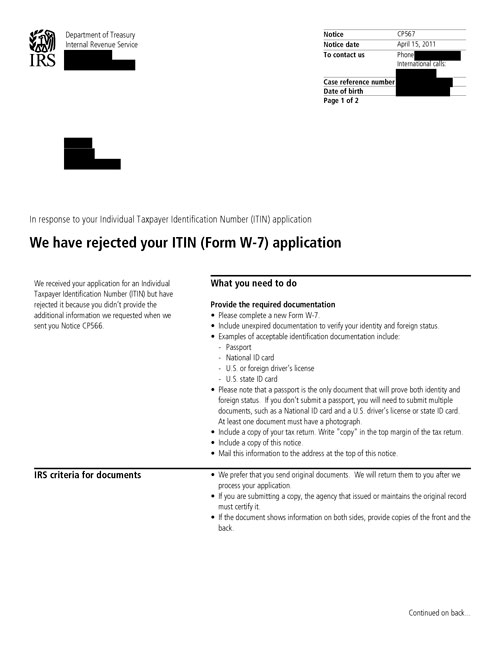Image of page 1 of a printed IRS CP567 Notice