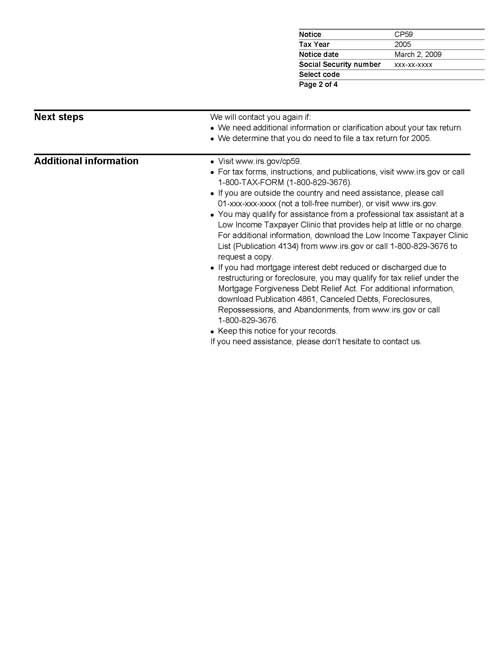 Image of page 2 of a printed IRS CP59 Notice