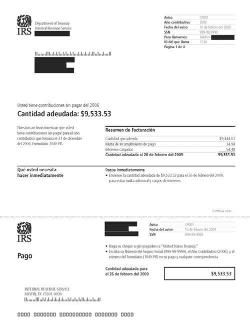 Image of page 1 of a printed IRS CP601 Notice