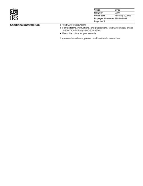 Image of page 3 of a printed IRS CP60 Notice